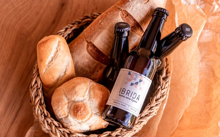 basket with bread and beer